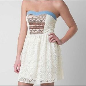 Flying Tomato Dresses - Flying Tomato Strapless Lace Boho Aztec Dress